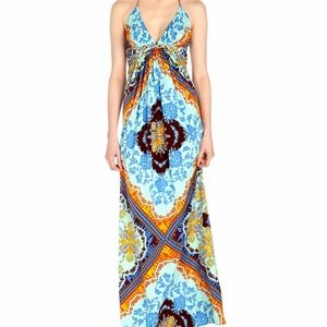 SKY braid trim halter maxi dres, orange